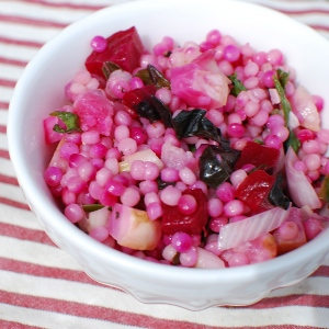 Roasted beet & turnip Israeli couscous salad