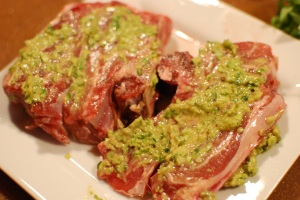 Blade chops with a garlic-scape rub, ready for the grill