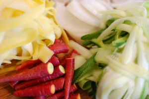 Yellow squash, spring onion, purple carrots, zucchini