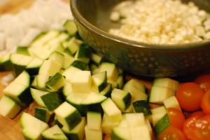 CSA onions, zucchini, and tomatoes; Jersey-fresh corn