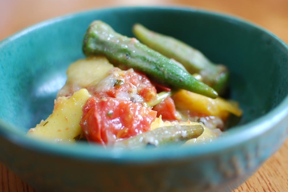 August chicken-okra stew