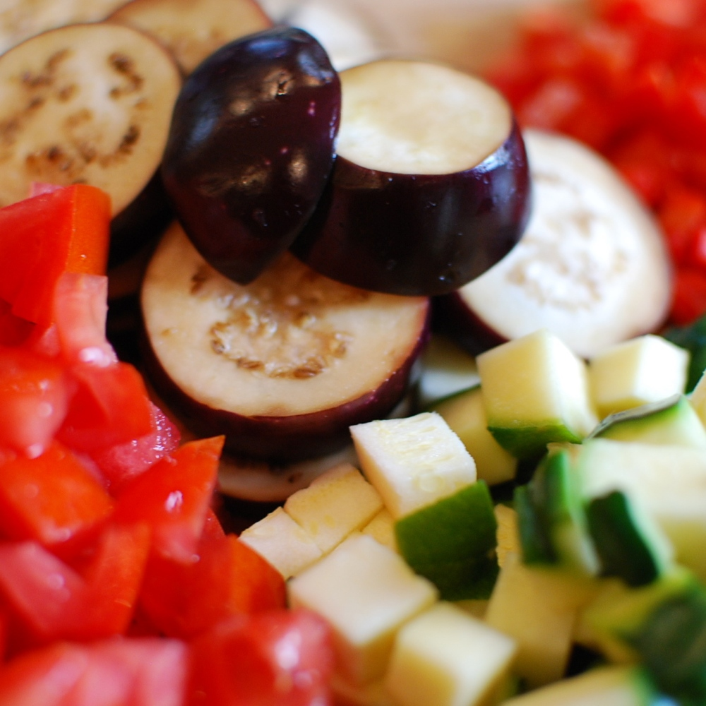 Tomatoes, eggplant, squash, pepper