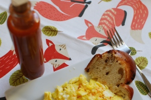 """Red-Green Combo in action on scrambled eggs. The fox says, """"Mm-mm-mm-mm-mm-mm-mm-mm-mm."""""""